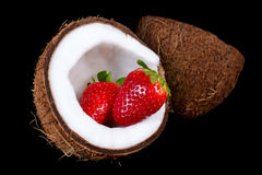 Coconut with strawberry Royalty Free Stock Photos