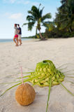 Coconut and sun hat on the sandy sea shore Stock Image