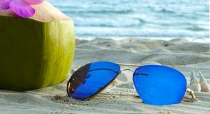 Coconut and a sunglasses on beach stock images