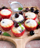 Coconut and sweet cherry cakes Royalty Free Stock Photos