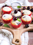 Coconut and sweet cherry cakes Stock Photo