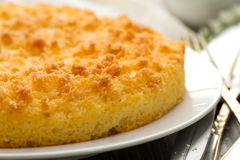 Coconut tart on brown dish Royalty Free Stock Image