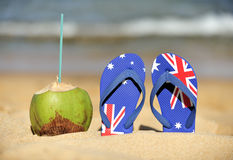 Coconut & thongs Royalty Free Stock Images