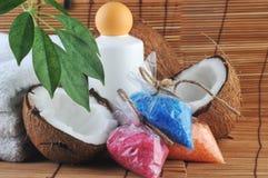 Coconut, towel and salt Stock Photos