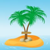 Coconut tree with direction board Stock Photos
