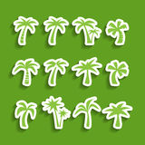 Coconut tree icon set, sticker version, vector eps10 Royalty Free Stock Photos