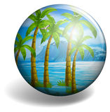 Coconut tree on round badge Stock Photos
