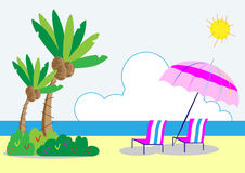 Coconut trees and beach chair Stock Images