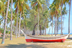 Coconut trees and wooden boat under blue sky at the beach. Stock Photography