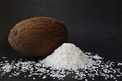 Coconut. Tropical fruit on the dark wallpaper royalty free stock photography