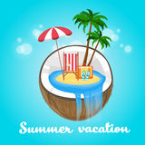 Coconut Tropical Island Summer Beach Vacation Stock Images
