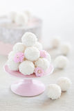 Coconut truffles. Coconut and rose water truffles, selective focus Stock Image