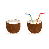 Coconut and two straws vector illustration Royalty Free Stock Photography