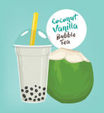 Coconut vanilla bubble tea Stock Photos