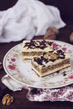 Coconut, vanilla buttercream and nuts cake Royalty Free Stock Images