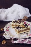 Coconut, vanilla buttercream and nuts cake Stock Image