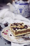 Coconut, vanilla buttercream and nuts cake Stock Images