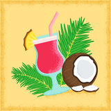 Coconut. Vivid retro styled tropical poster with grunge shading Stock Photography
