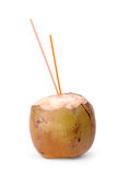 Coconut water. Fresh coconut with straw  on isolated background Royalty Free Stock Photo
