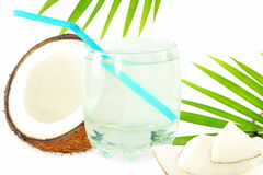 Coconut water with cut coconut and leaves. Fresh coconut water with cut coconut and leaves in pure white background Royalty Free Stock Photography