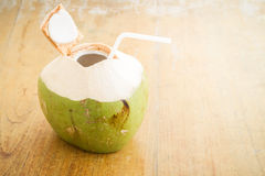 Coconut Water Drink. Fresh coconut water drink on table royalty free stock photos