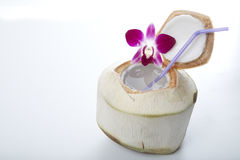Coconut Water Drink. Fresh Coconut Water Drink on white background Stock Photography