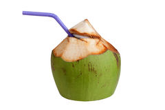 Coconut water drink. Fresh on white background. Isolated on white objects with clipping paths Royalty Free Stock Images