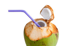 Coconut water drink. Fresh on white background. Isolated on white objects with clipping paths Stock Images