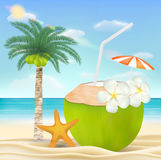 Coconut water drink on a sea sand beach Royalty Free Stock Image