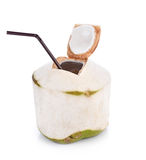Coconut water drink on white background with clipping path Royalty Free Stock Photos