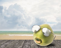 Coconut wear sunglasses beside beach Royalty Free Stock Photo