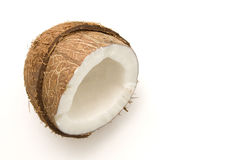 Coconut on white. A coconut isolated on white background stock photography