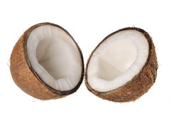 Coconut on a white background. Two segments of coconut on a white background Stock Photography