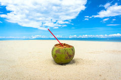 Coconut on a white beach Royalty Free Stock Photos