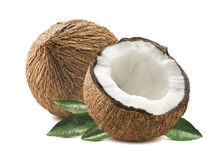 Coconut whole cut half leaves composition isolated white backgro Stock Photos
