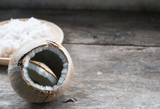 Coconut on wooden table. Coconut on rustic wooden table Stock Photography