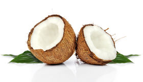 Coconuts. Halves of coconuts  on white  background Royalty Free Stock Image