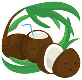 Coconuts. Coconut is sleeping, coconut is drinking, coconuts Royalty Free Stock Image