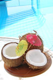 Coconuts. Fresh coconuts composition by pool Royalty Free Stock Photos