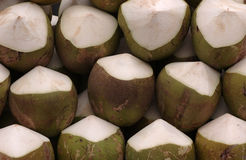 Coconuts. In a shop ready for sale in Singapore asia Royalty Free Stock Image