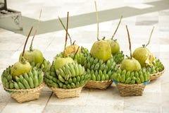 Coconuts and Bananas Stock Photos