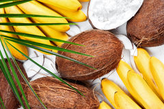 Coconuts and bananas with leaf Royalty Free Stock Image