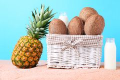 Coconuts in basket. And pineapple with bottle of milk on beach sand Stock Photography