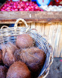Coconuts in the basket Royalty Free Stock Photo