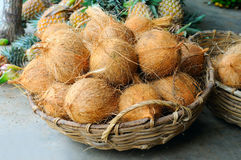 Coconuts in the basket in  vegetable shop Royalty Free Stock Image