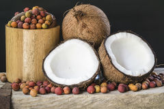 Coconuts. A beautiful collection of variety of coconuts and corozo Stock Photo