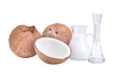 Coconuts and coco oil Stock Photos