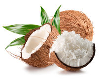 Coconuts with coconut flakes isolated on a white background Royalty Free Stock Photography
