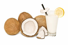 Coconuts and coconut milk Royalty Free Stock Images
