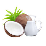 Coconuts and coconut milk royalty free stock image